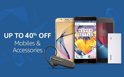 Mobiles & Accessories, Upto 40% off